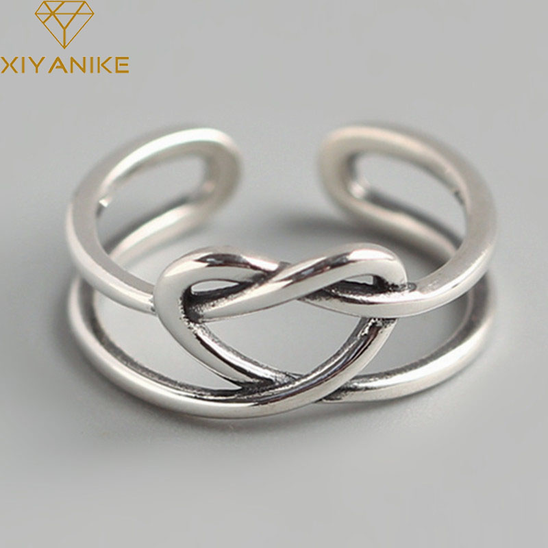 XIYANIKE 925 Sterling Silver Double Weave Heart Opening Ring For Women Vintage Geometric Handmade Engagement Jewelry Party Gifts