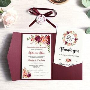 Image 2 - 50 шт. свадебные приглашения, синие карманные поздравительные открытки бордового цвета с конвертом, индивидуальная вечеринка с лентой и биркой