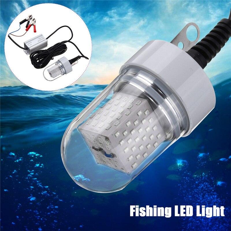 Светодиодный светильник для рыбалки, водонепроницаемый IP68, 60 Вт, 126smd 2835, Белый/Синий, наживка с подсветкой