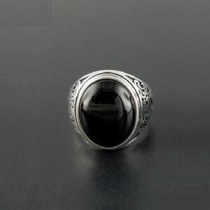 Image 4 - אמיתי 925 כסף שחור גרנט S925 טבעת לגברים נשי חקוק פרח קלאסי פתוח גודל טבעת סטרלינג תאילנדי תכשיטי כסף