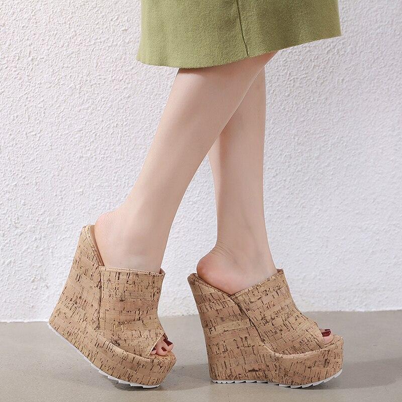 Купить с кэшбэком Peep Toe Plus Size 35-42 Sexy 15cm Wedge Platform Women's Gladiator Sandals Slippers Slip-On High Heels Roman Slides Woman Shoes