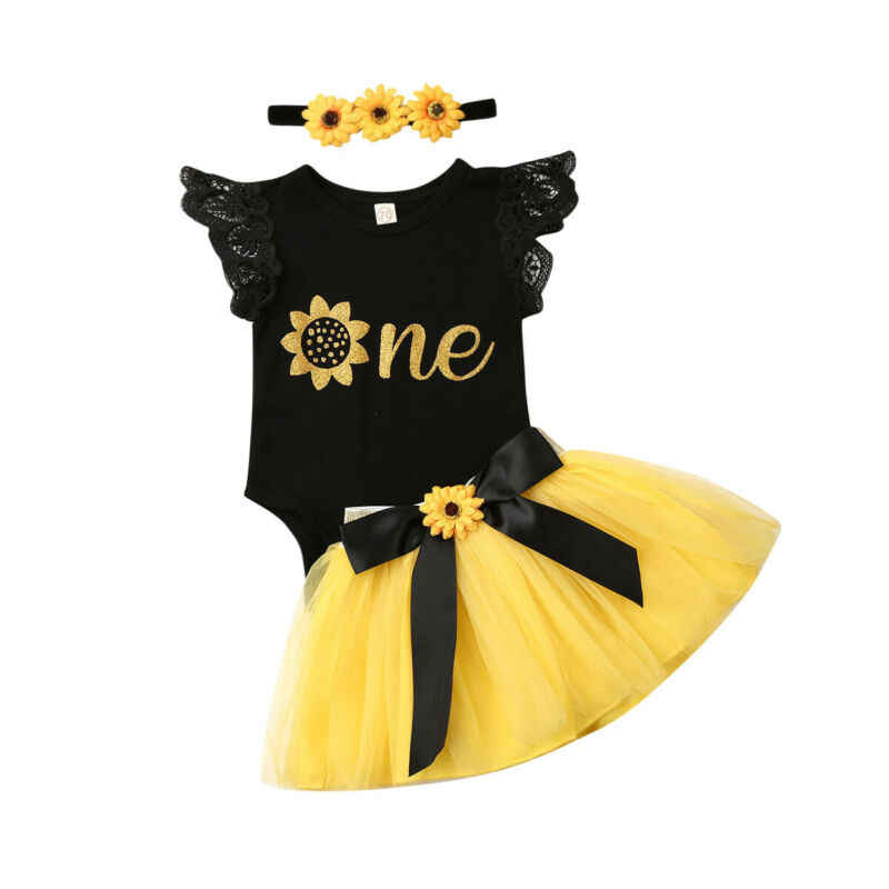 Newborn Girl First Birthday Outfits Baby One Floral Ruffles Romper+Toddler Kids Tutu Skirts+Headband 3pcs Clothes Sets