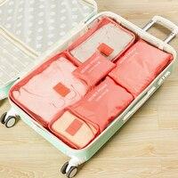 6 PCS Reise Lagerung Tasche Set Für Kleidung Tidy Organizer Kleiderschrank Koffer Reise Veranstalter Tasche Fall Schuhe Verpackung Cube tasche