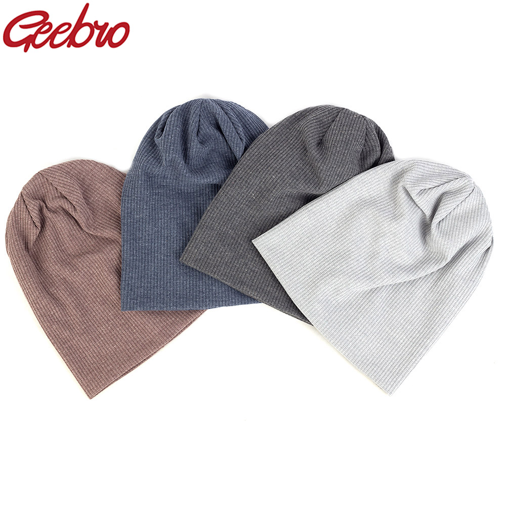 Geebro Casual Cotton Unisex Ribbed Beanies Caps For Women Men Autumn Winter Slouch Skullies Hat Ladies Plain Hip Hop Hats