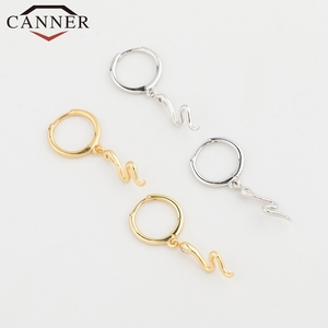 Korean new 925 Sterling Silver Hoop Earrings for Women Simple Animal Snake Shape Gold Silver Earrings Drop shipping