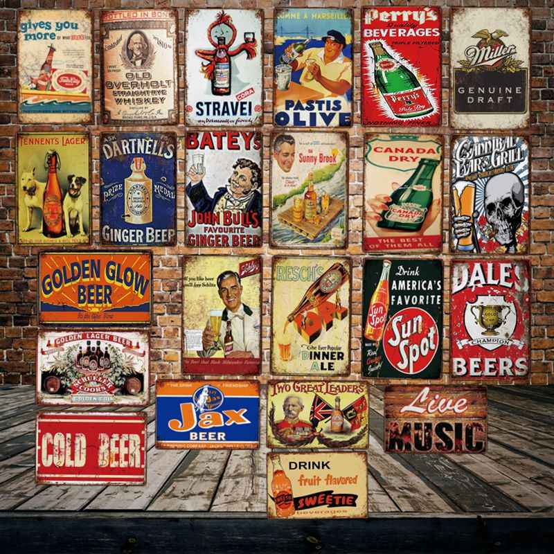 [ WellCraft ] COLD BEER MIller LIVE MUSIC Metal Tin Signs Posters Vintage Painting Bar Wine Custom Decor  LT-1969