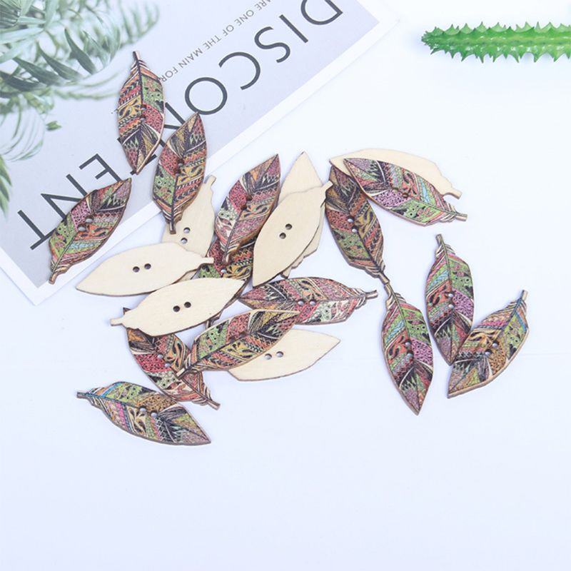 100Pcs Vintage Wooden Buttons Ethnic Colorful Patterned Feather Leaf Shape Sewing Buckle With 2 Holes For DIY Craft