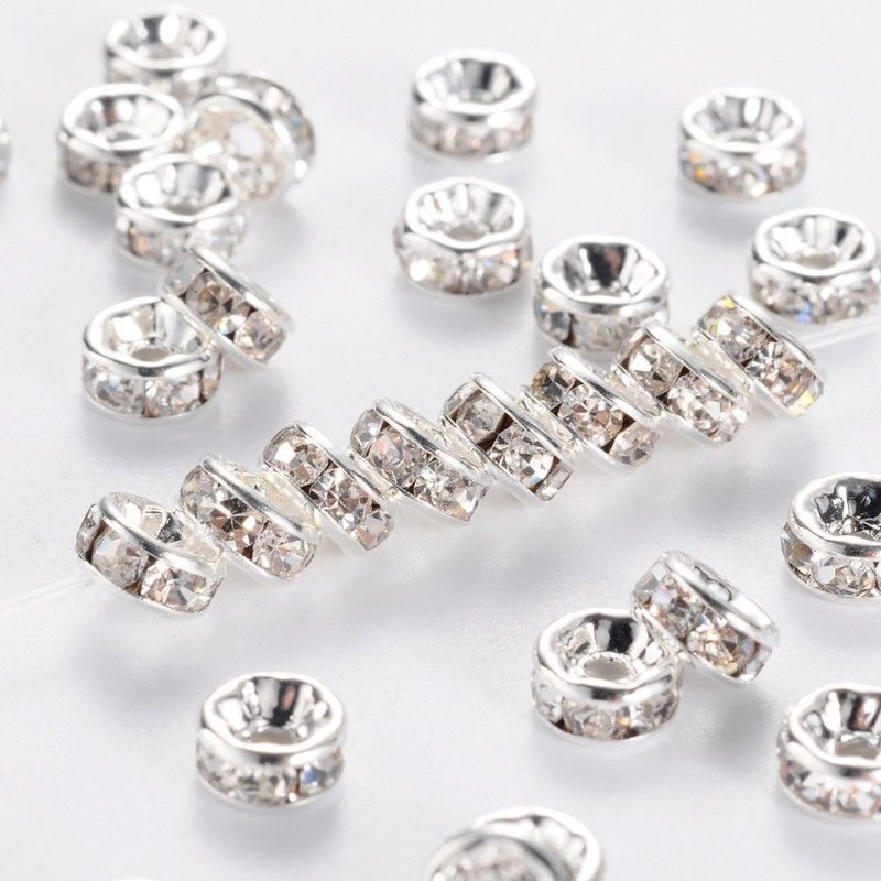 50/100Pcs Silver Metal Clear Crystal Rhinestone Beads 8mm Rondelle Spacer Beads DIY Women Bracelet Jewelry Making Accessories(China)
