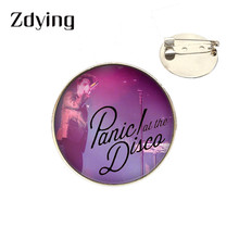 Zdying Trendy Panic at the Disco Brooch Glass Photo Cabochon Badge For Woman Men Clothing Bags Accessories Fans Gift TW011