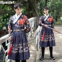 Ming dynasty roupa de espadachim masculino tradicional chinês adulto hanfu robe trajes de dança folclórica palco desempenho outfit cosplay