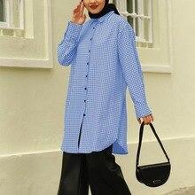 Shirts Tops Tunic Muslim-Dubai ZANZEA Women Blouse Abaya Morocco Casual Chemise Mandarin-Collar