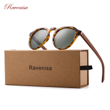 Ravenisa Wood Sunglasses Polarized Sunglasses Women Men Vintage Round Sun Glasses Ladies lunette de soleil femme UV400