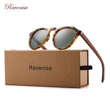 Ravenisa Wood Sunglasses Polarized Sunglasses Women Men Vintage Round Sun Glasses Ladies lunette de soleil femme UV400