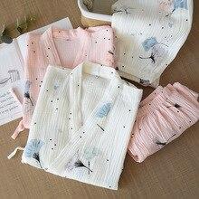 봄과 여름 순수한 면사 기모노 잠옷 v 넥 프린트 플러스 사이즈 피자 마 Mujer Loungewear Women 2 Piece Sleepwear