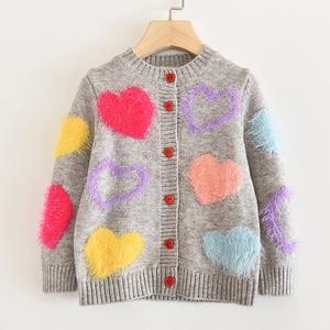 Image 3 - Пальто для девочек с надписью LOVE DD & MM новая осенняя одежда для детей 2020 милый однобортный мягкий вязаный кардиган с длинными рукавами для девочек, свитер