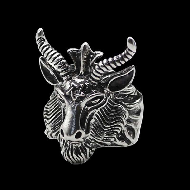 ゴスブラック死サタン金属オカルトヤギリング男性レトロなステンレススチールペンタグラムラムリングオートバイパンク動物ジュエリートレンド