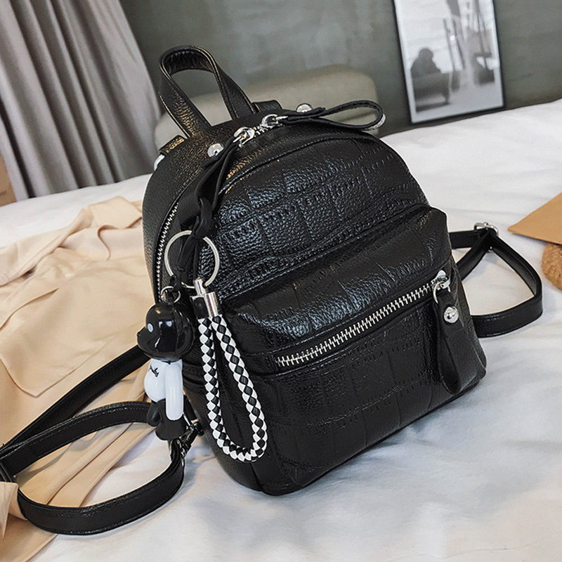 2020 New Backpacks For Women PU Leather Cute Small Backpack Female Black Backpacks Fashion Little Bear Pendant Mini Girl Bagpack
