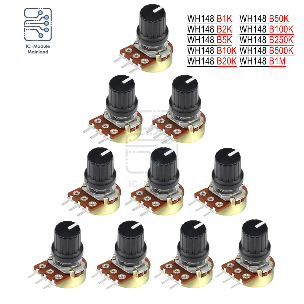 5PCS Potentiometer Resistor 1K 2K 5K 10K 20K 50K 100K 500K 1M Ohm 3 Pin Linear Taper 15mm Shaft Rotary Potentiometer for Arduino