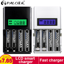 цена на PALO 4 Slots Smart LCD Display Battery Charger For AA / AAA NiCd NiMh Rechargeable Batteries AA/AAA Batteries universal charger