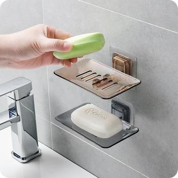 Jabonera baño ducha jabonera plato de caja plato de almacenamiento organizador de baño estante de almacenamiento para montar en paredes estante colgante de cocina