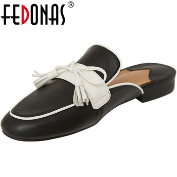 FEDONAS Brand Design Women Cow Leather New Sandals Prom Thick Heeled 2020 Spring Summer New Butterfly Knot Fashion Shoes Woman