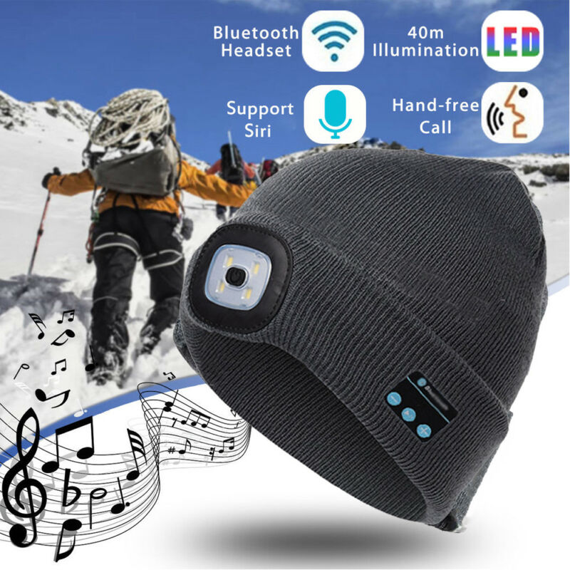 Зимняя музыкальная шапка Беспроводной Bluetooth V5.0 Smart кепки наушники гарнитура с 4 светодиодный светильник, свободные руки, свободные руки, муз...