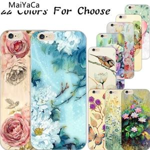 MaiYaCa Painted Twitter Flowers Fragrance Phone Cases for iPhone 4S 5C 5S 6S 7 8 Plus