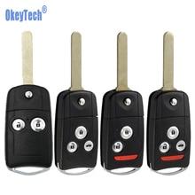 цена на OkeyTech Modified Remote Car Key Shell Fob For Honda Accord CRV Civic Spoiler Flip Folding Key Cover Case Uncut Hon66 Blade
