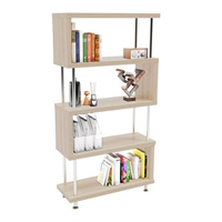 4 layer Frame Bookcase Steel Tube Wood Structure white Oak Bookcase Book Shelf Home Furniture Magazine Rack Storage