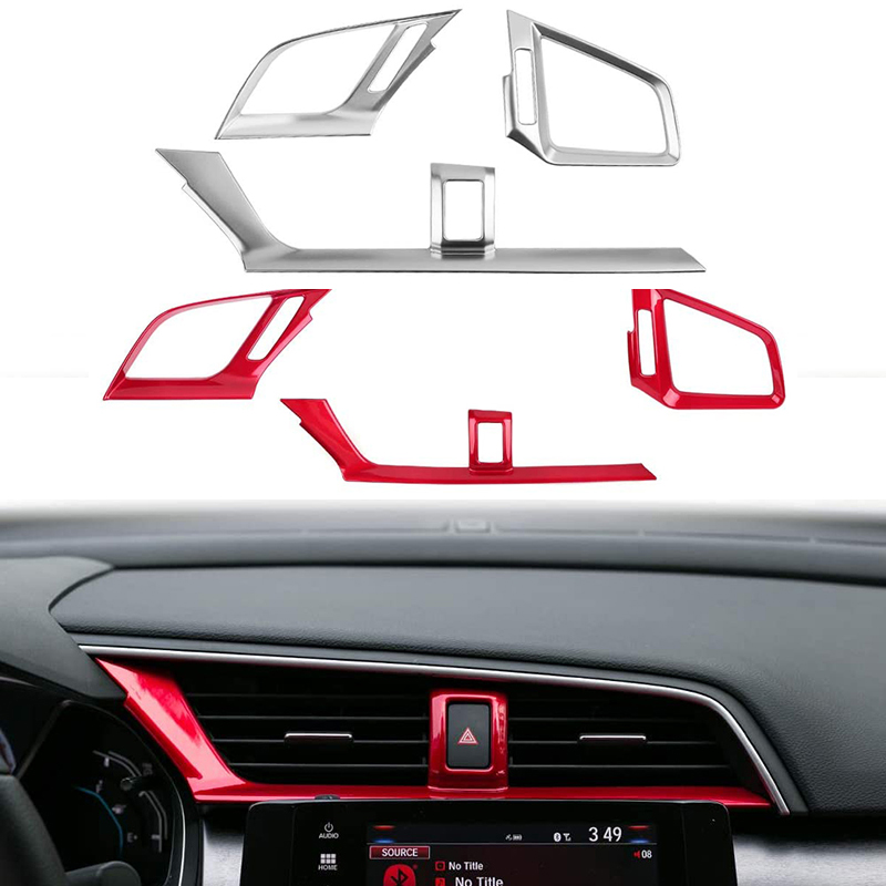 Senzeal ABS Car Gear Shift Knob Protector Cover Trim Carbon Fiber Grain for Honda 10th Gen Civic 2016 2017 2018 2019 1 Set