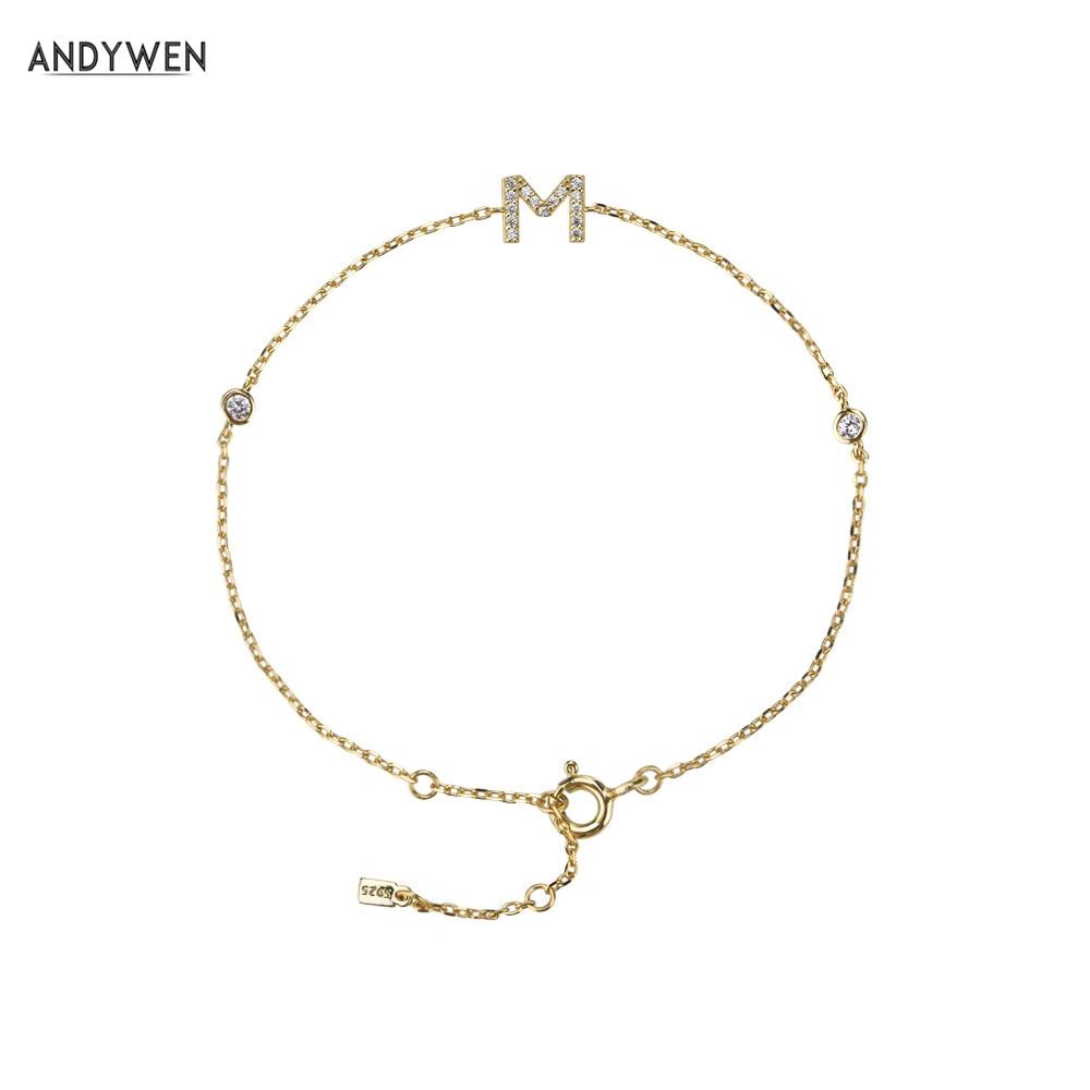 ANDYWEN 100% 925 Sterling Silver Small Alphabet Letter M Bracelet Zircon CZ Crystal High Quality Women Specila Jewelry Wedding