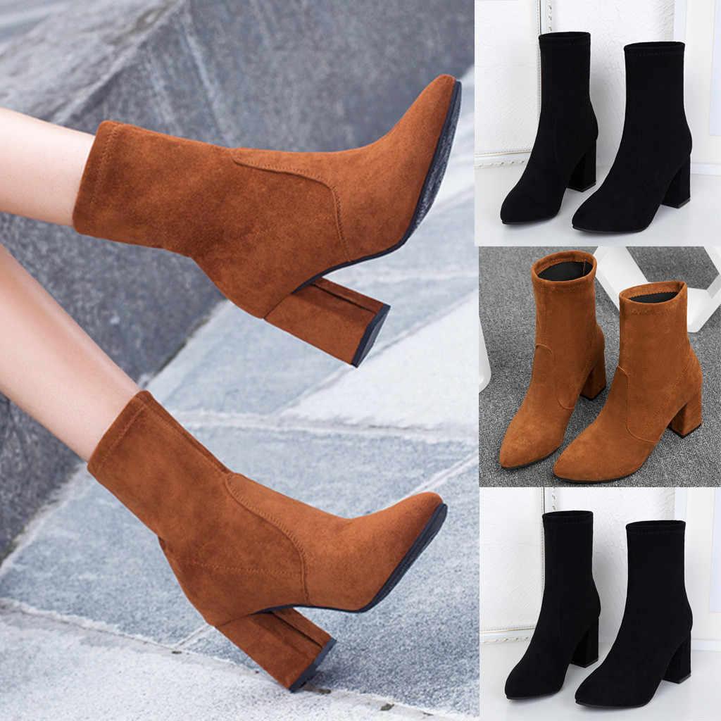 Femmes élégantes chaussures d'hiver solide unisexe bottes de neige en daim fourrure à l'intérieur carré avec garder au chaud sauvage bottes décontractées