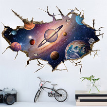 3D Cosmic Space planet Broken wall stickers for kids rooms bedroom nursery home decoration decals murals Break the wall sticker personality 3d broken wall space scenery heart shape wall art sticker