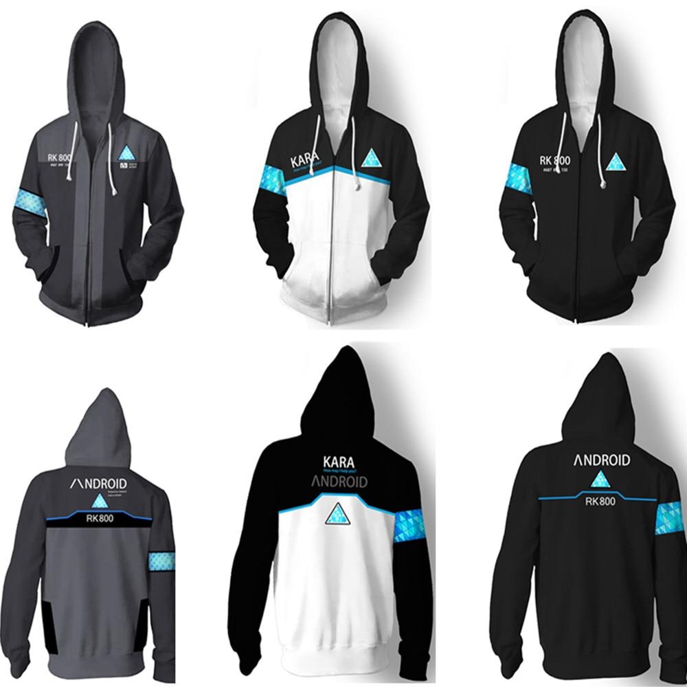Game Detroit: Become Human KARA Hoodies Sweatshirt Cosplay Costume Connor Cosplay Uniform Men Jacket RK800 Coat