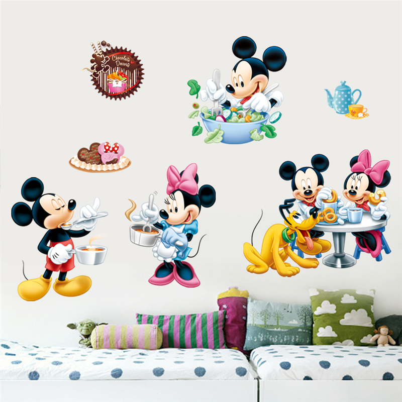Us 311 30 Offdisney Mickey Minnie Mouse Pluto Cooking Wall Stickers Bedroom Home Decor Cartoon Wall Decals Pvc Mural Art Diy Wallpaper On