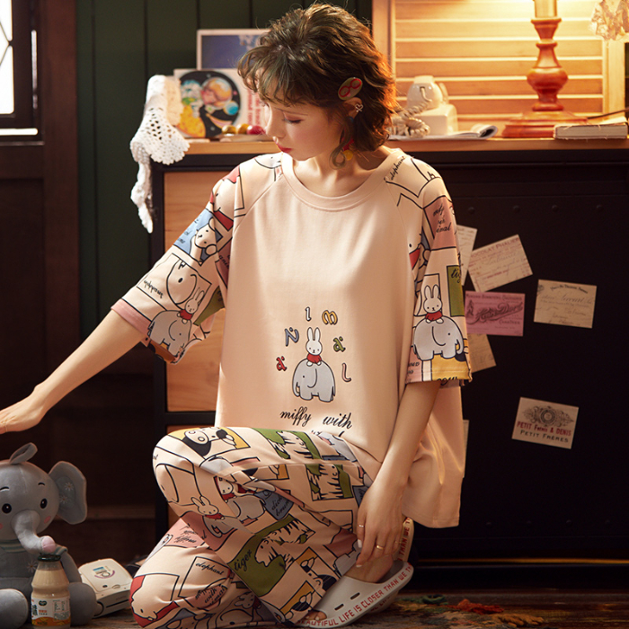 2 Pcs Pajamas For Women Short Sleeve Long Pants Spring Summer Casual Comfortable Pyjama Sets For Girl Nice Home Suits