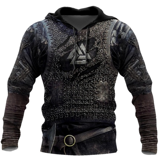 Viking Armor Tattoo 3D Printed Hoodies Harajuku Fashion Sweatshirt Cosplay costume Unisex Casual jacket Zip Hoodie WJ003 9