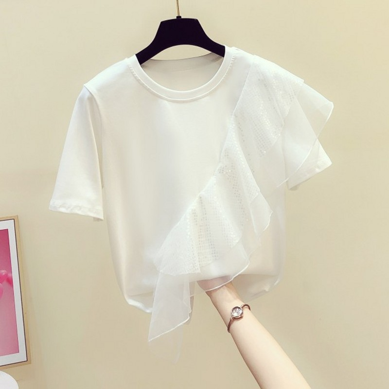 INS Irregular Ruffles Sequin Stitching Short Sleeve Round Collar T-shirt Women's 2020 Summer New Jumper Fashion Tshirt Tops
