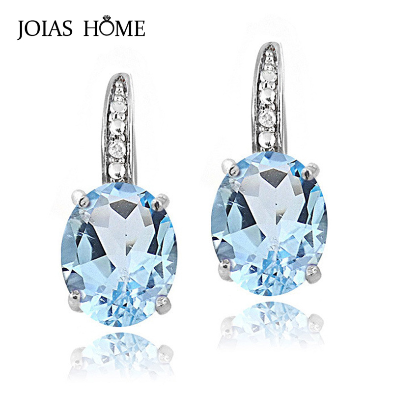 JoiasHome Classic 100% Real Silver Women Earrings With Egg Shape Blue Sapphire Gemstones Elegant Lady Party Wholesale Gift