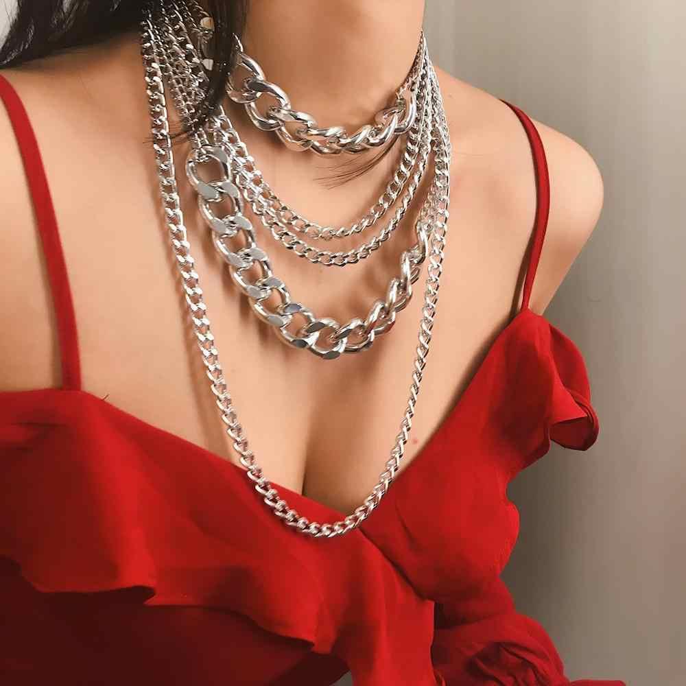 Punk przesadne duże warstwy materiały grube kubański Link choker łańcuszek naszyjnik kobiety moda Hippie nowoczesny noc klub biżuteria prezenty
