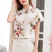 Harajuku noeud papillon femmes manches courtes impression chemise décontractée impression Haut ample élégant bureau Poleras Camiseta Mujer Haut Femme