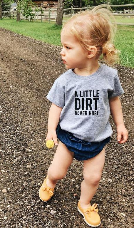 A Little Dirt Never Hurt Print Kids tshirt Boy Girl t shirt For Children Toddler Clothes Funny Street Top Tees CZ-129 image