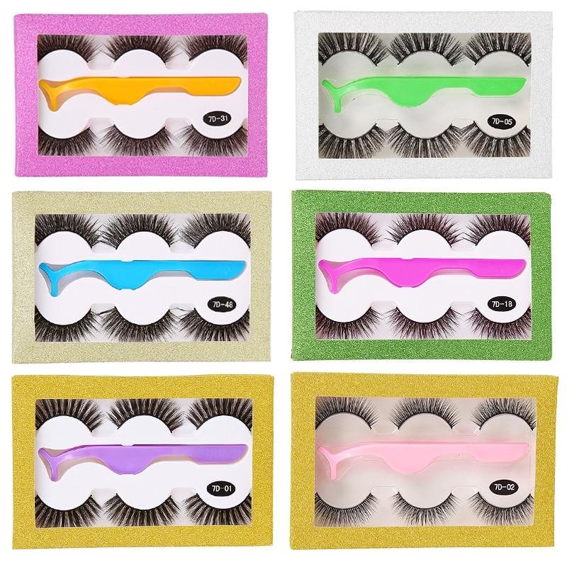 3D False Eyelashes Natural Long Thick False Eyelash Extension Makeup Handmade Eyelash Set With Tweezers