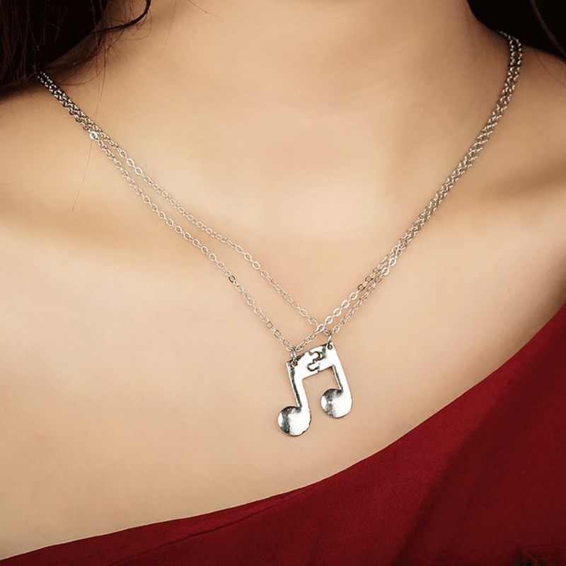 Music Notes Colorful Silver LOCKET Pendant Necklace with Chain Womens Childrens Mens Fashion Jewelry