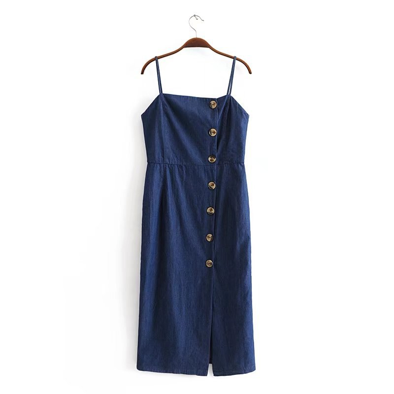 2018 Spring And Summer WOMEN'S Dress Cotton Washing Denim Button Strapped Dress 8201