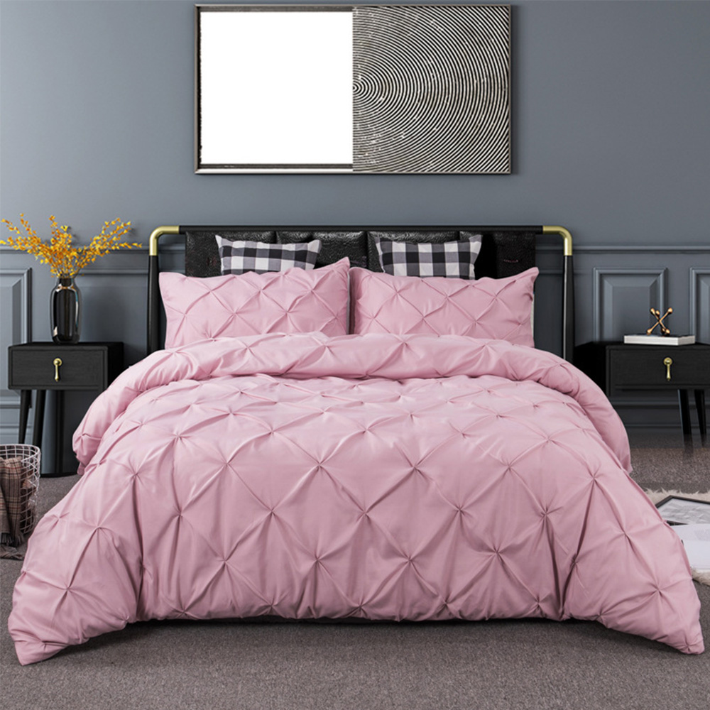 Pleated Style Home Textile Set Pure Color Pillowcase Quilt Cover Soft Complete Set Includes Bed Sheet Set