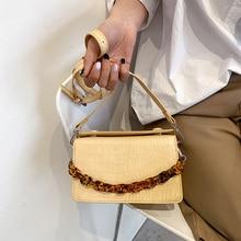 Amber Chain Small Crossbody Handbag Women Designer Luxury Designer Stone Pu Leather Shoulder Bag Messenger Ladies Summer Purse