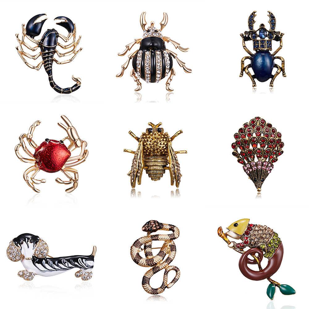 Della Lega Dell'annata Dello Smalto Del Serpente Scorpione Lucertola Beetle Spille per Le Donne Degli Uomini Creativo Bugs Spilli Cristallo di Modo Insetto Distintivi E Simboli Regalo