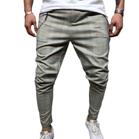 Men's Stretch Pants Sport Trouser Long Plaid Striped Regular Fit Wild Fashion Pants Loose top Tight Casual Bottom