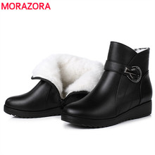 MORAZORA 2020 new fashion winter snow boots natural wool ankle boots round toe zipper crystal casual wedges shoes Mother shoes